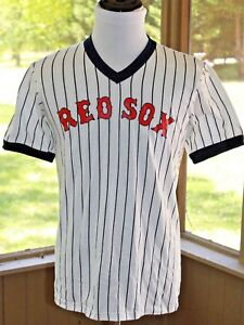 Majestic-Size-Large-Red-Sox-Jersey-Shirt-Top-Blue-Pin-Stripe-USA-Vintage-AT
