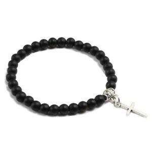 Bracciale-con-ciondolo-CROCE-argento-cordino-NERO-braccialetto-regalo-Acciaio