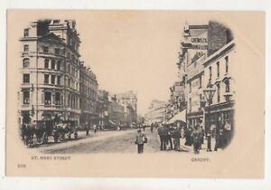 St-Mary-Street-Cardiff-Vintage-U-B-Postcard-Glamorgan-South-Wales-750b