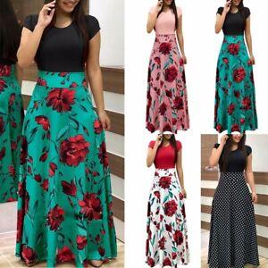 Women's Plus Floral Maxi Dress Evening Party Long Dress Summer Cocktail Dresses