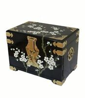 Black Lacquered With Plum Blossom Jewellery Box Oriental Furniture Chinese