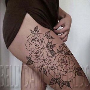 Details About Large Amazing Sexy Rose Outline Thigh Temporary Tattoo Waterproof Big Tatouage