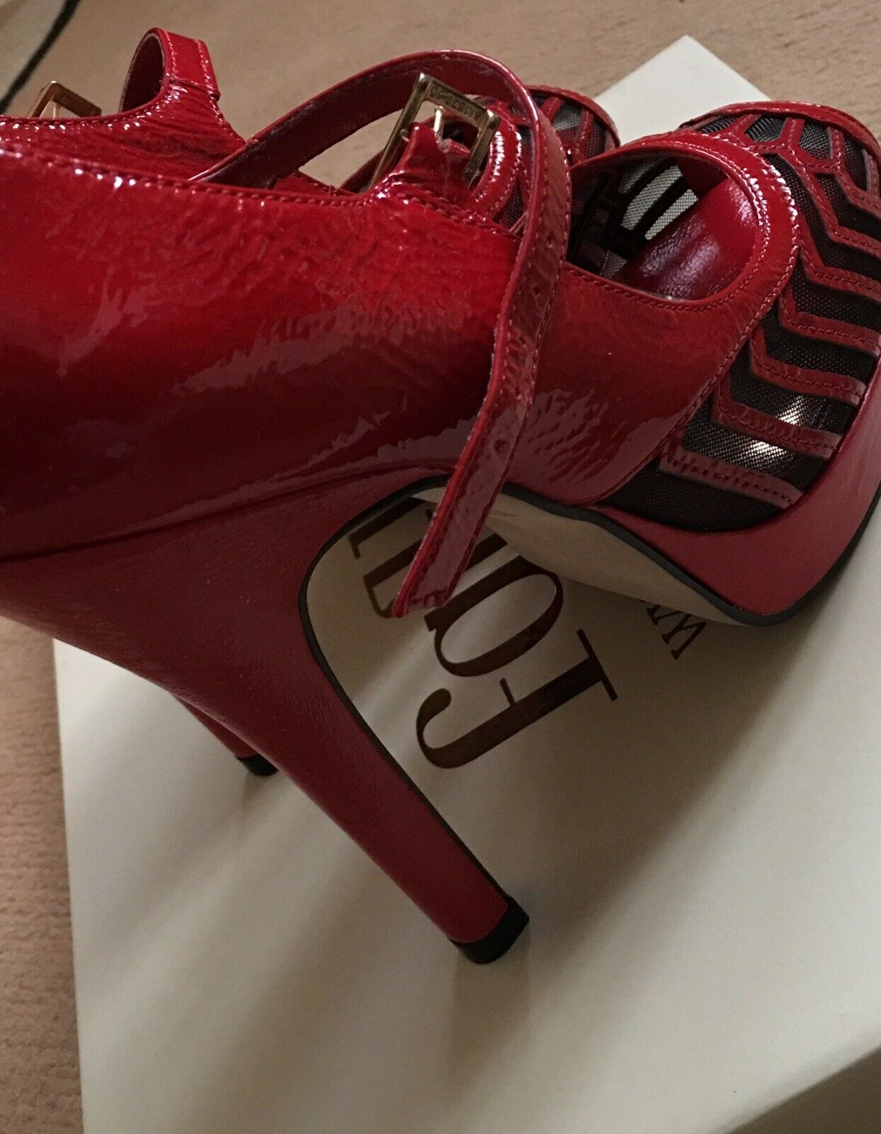 Faith Red Leather Heels Brand New Size 5