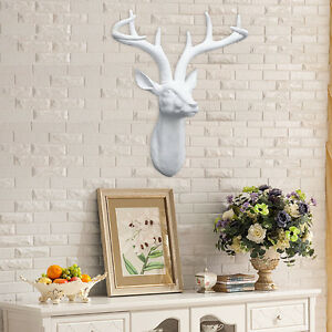 Decor Large White Stags Deer Head Resin Wall Art Wall