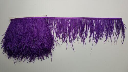 1 metros Pluma de Avestruz Calidad Cinta de Raso Recorte Fringe 10-12cm 56 Colores