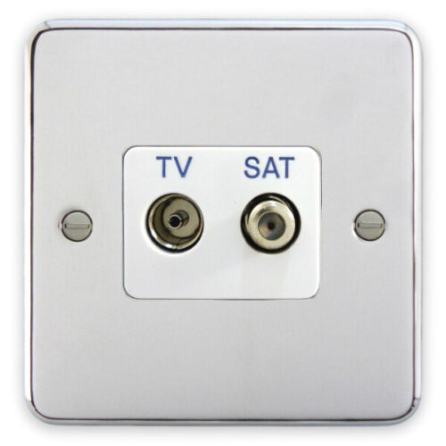 White Insert Deta 1942CHW TV F Type Satellite Socket Polished Chrome