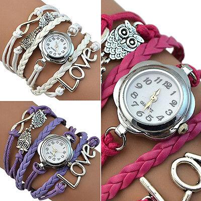 Pretty Fashion Women's Love Owl Knitting Multilayer Faux Leather Bracelet Watch