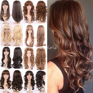 Wholesale Women s Full Wigs Long Hair Brown Blonde Mix Highlight ... 8563ffb28
