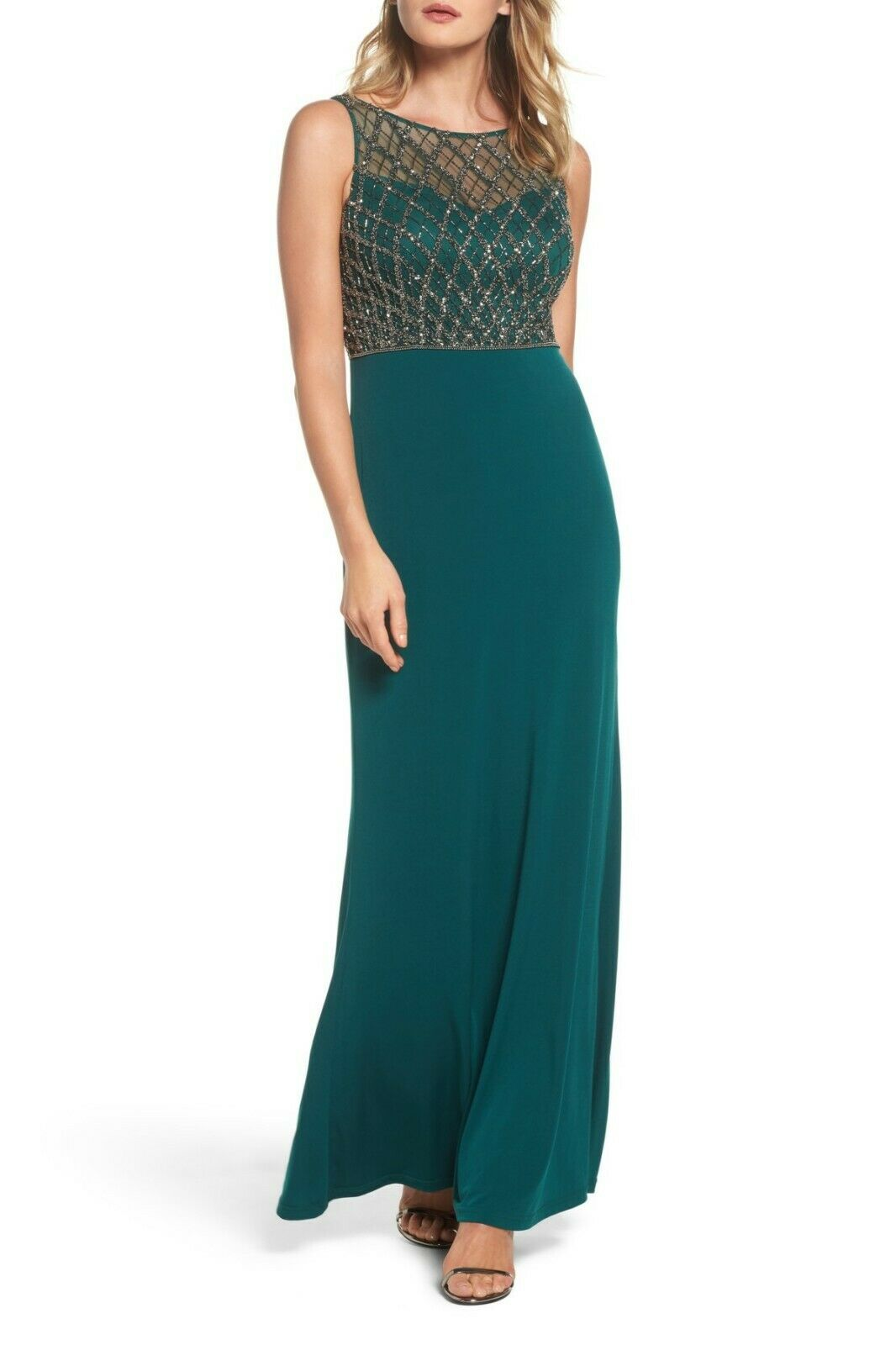 Adrianna Papell Hunter Green Mermaid Gown Beaded Illusion Bodice Size 16 NWT