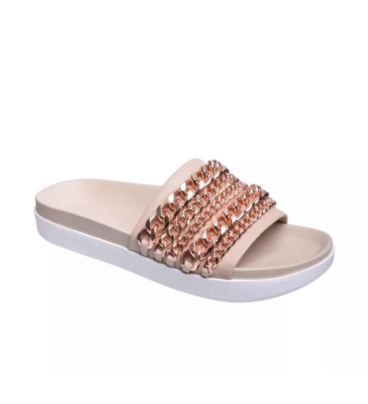 Kendall + Kylie Sandal Shiloh Ivory Pool Slide Size 8 Chain Embellished Leather