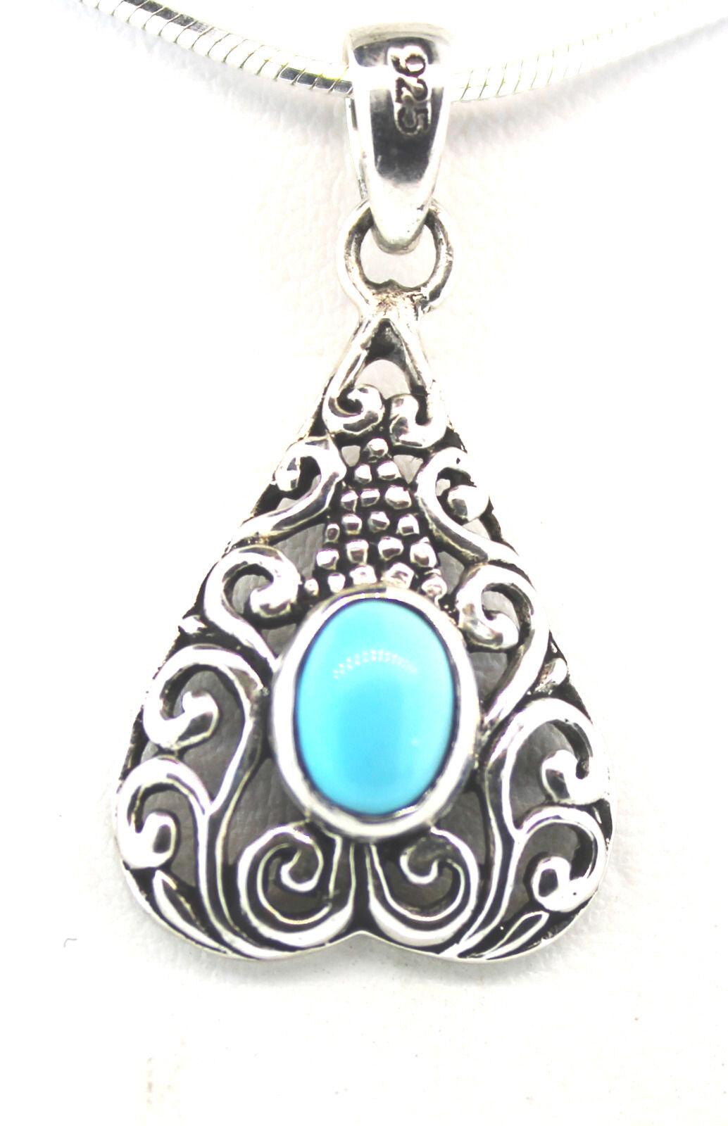 Royal Bali Collection Arizona Sleeping Beauty Turquoise (Ovl) Pendant w o Chain