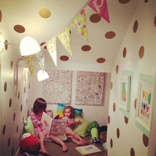 Gold Polka Dots Wall Sticker Baby Nursery Sticker Kids Home Decor DIY Sticker