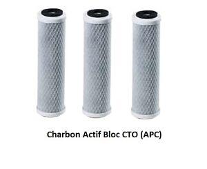 """Cartouche Filtre charbon actif BLOC anti chlore 10"""" CTO (LOT DE 3)"""