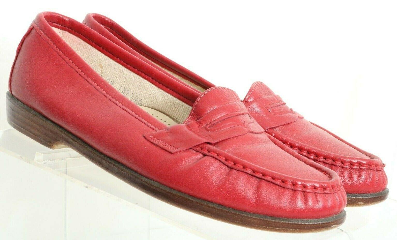 SAS Wink Red Tripad Comfort Slip On Flat Penny Loafers Women's US 7 W