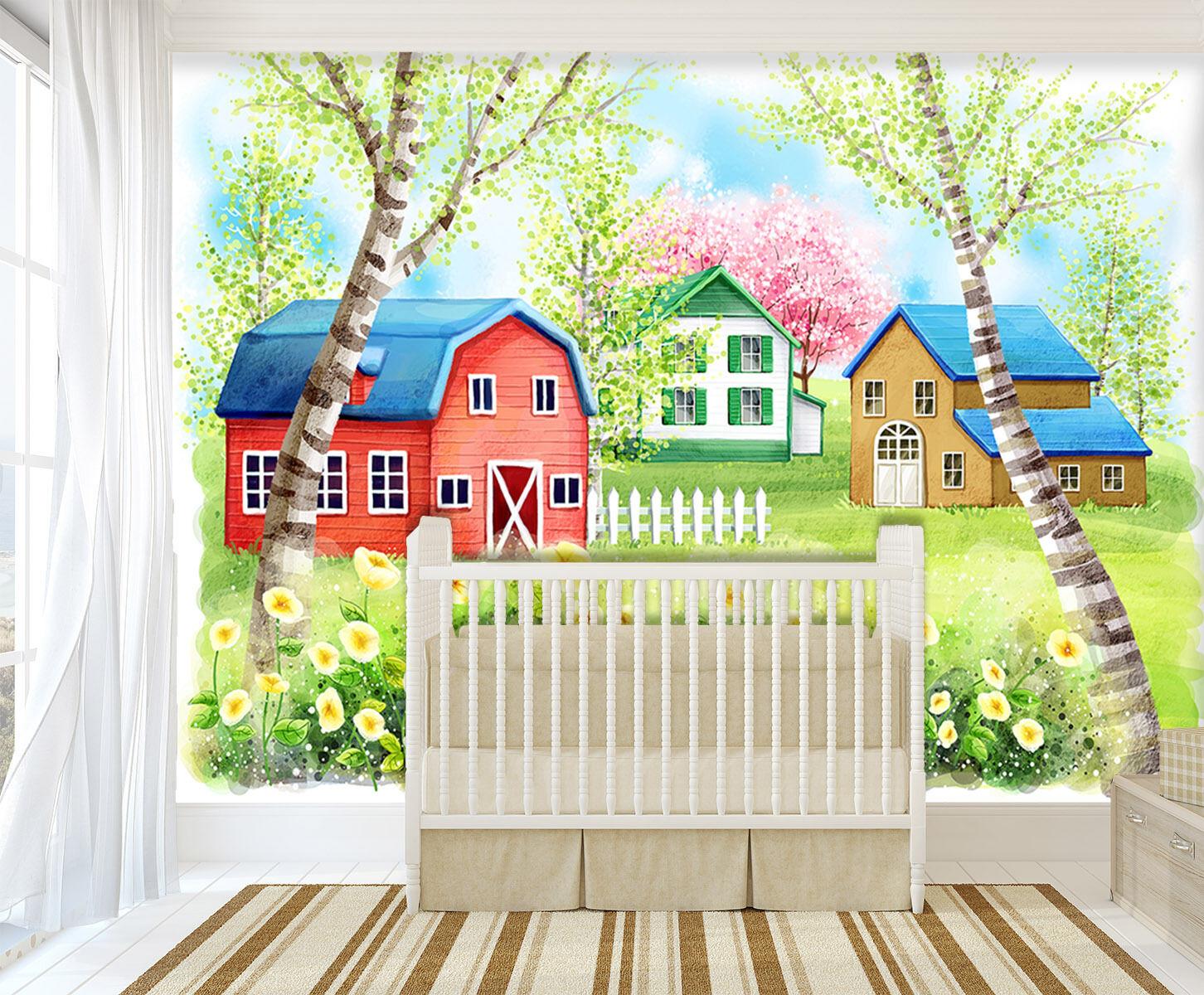 3D Farbige Häuser, Garten Fototapeten Wandbild Fototapete BildTapete Familie DE
