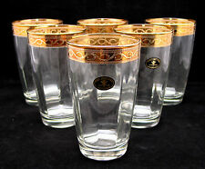 SET of 6 Italian Crystal Highball Beverage Glasses, 24K Gold Rimmed Trim, 12 Oz.