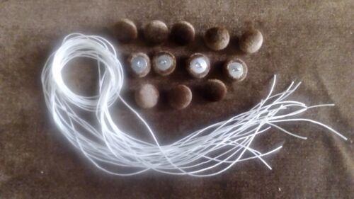 ficelle pour chaque 30 mm Dia 12 x Boutons En Tissu EN VELOURS MARRON dralon