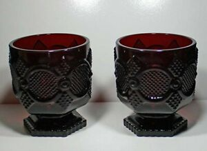 Avon-1876-CAPE-COD-Collection-Sandwich-Glass-Footed-Glass-Set-Ruby-Red