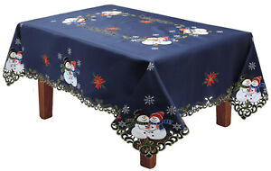 Holiday-Christmas-Snowman-Snowflake-Poinsettia-Tablecloth-With-Napkins-BLUE-Gold