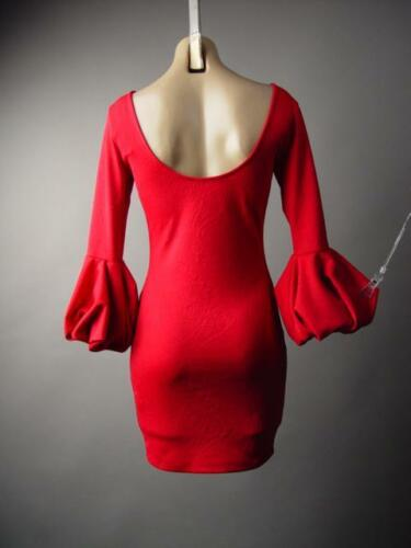 Red Statement Bubble Balloon Sleeve Evening Cocktail Party 218 mv Dress S M L