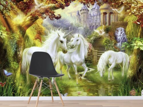 3D Unicorn Forest Castle 6 Wall Paper Wall Print Decal Deco Indoor Wall Mural CA