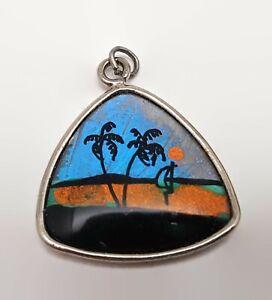 Tropical-Scene-Butterfly-Wing-Silver-Tone-Pendant
