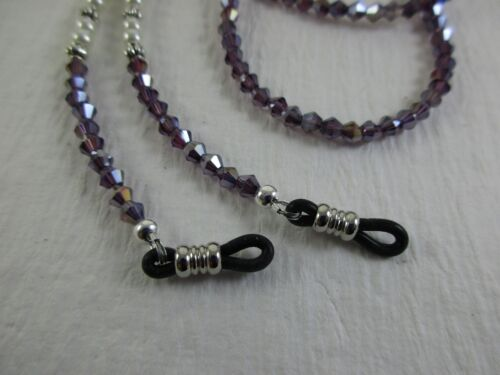"PETITE 25/"" Purple Amethyst /& Pearl Czech Crystal Beaded Eyeglass Chain USA"