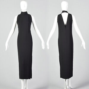 Small-Galanos-Late-1970s-Black-Pencil-Dress-Formal-Vintage-Minimalist-Open-Back