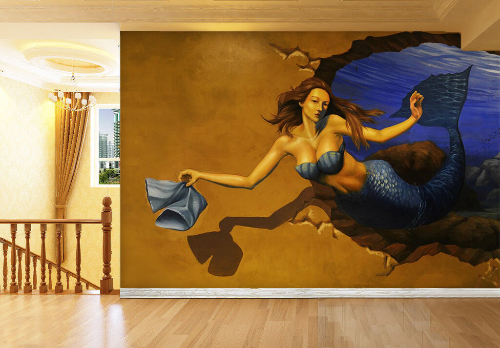 3D Beauty Ocean Painted Wall Paper wall Print Decal Wall Deco Indoor wall Mural