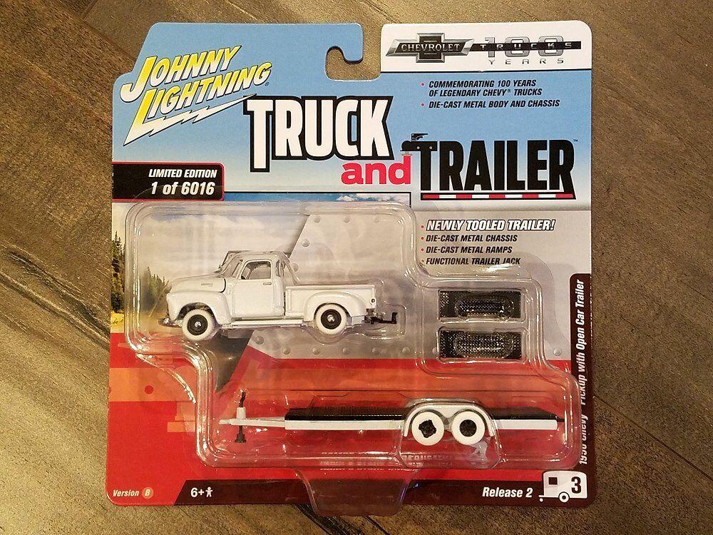 Johnny Lightning 1 64 Camión Y Trailer 1950 Chevy Pickup Abierto Autocaravana Chase
