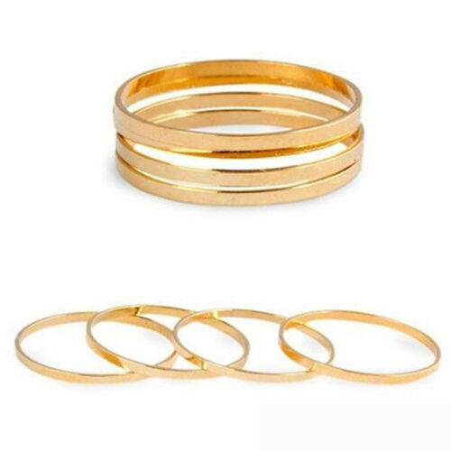 Stack Plain Above Knuckle Band Rings Set 5PCS//Set Midi Ring Finger Jewelry
