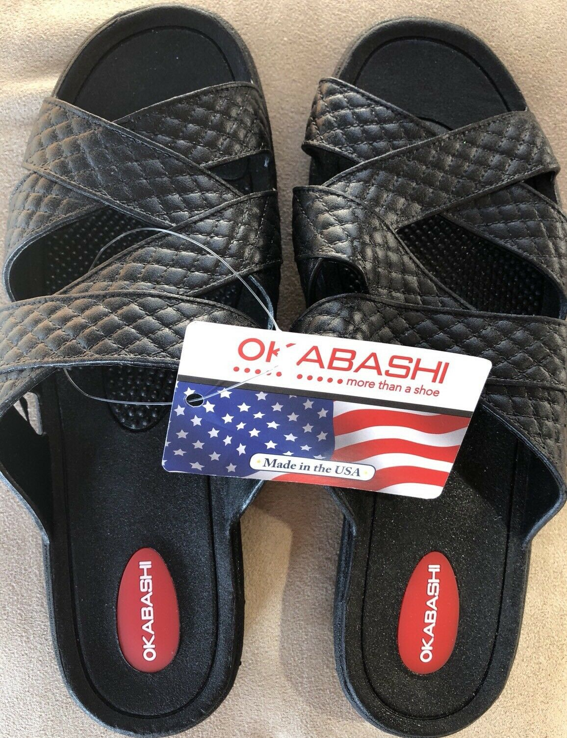Okabashi Women Cross Strap Black Sandal M Slides Ergonomic Strappy Size M Sandal 6.5-7.5 be8fd0