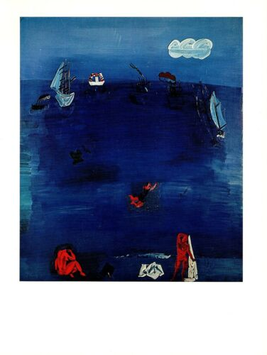 """1970 Vintage RAOUL DUFY /""""THE MEDITERRANEAN/"""" COLOR offset Lithograph"""