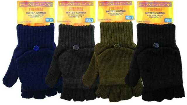 Mens Thermal Fingerless Combo Gloves Shooting Mittens with Spandex