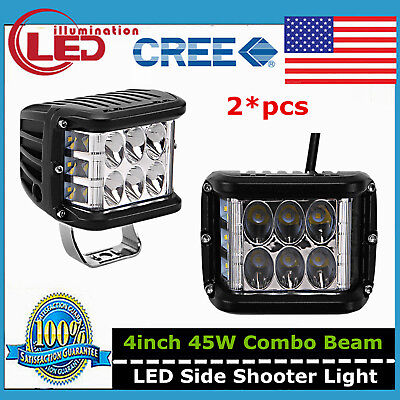 2pcs 4inch 45W Side Shooter CREE Pods Combo LED Work Light Off-road Driving 90W
