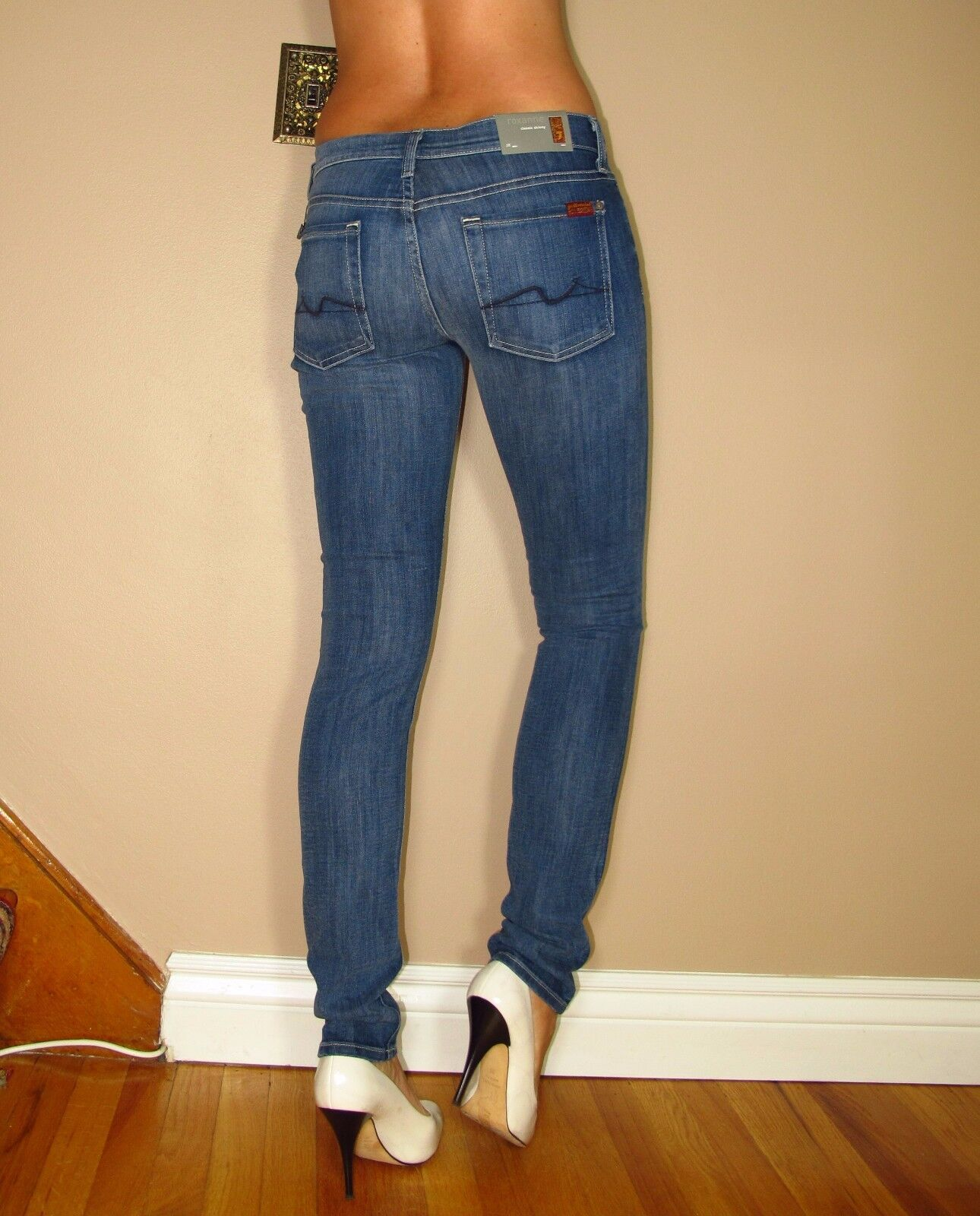 Seven 7 For All Mankind  189 Roxanne Skinny Gummy Jeans in Heritage Medium 25