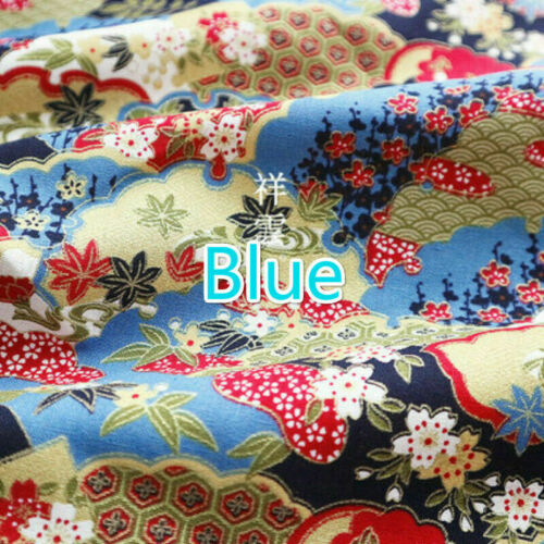 Japanese Floral Print Pure Cotton Fabric DIY Craft Sewing Material By Meter Blue