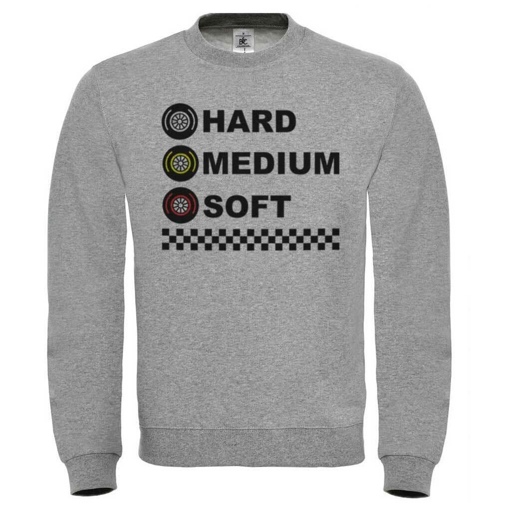 Sweatshirt Tire Formula 1, Rubber Dura, Media, Soft, Motorsport, Mechanical