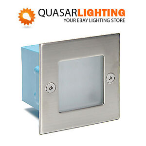 Recessed Square Indoor Outdoor Wall Stairs LED Light Lamp Cool White IP54 LED