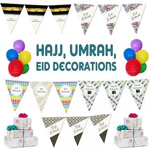 Eid Mubarak Party Decorations Banner Balloons Flags Bunting Cards Set SILVER