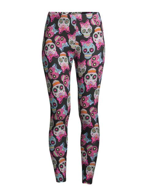 No Boundaries Women's Sugar Skull Print Black Ankle Legging Size 2xl For  Sale Online EBay
