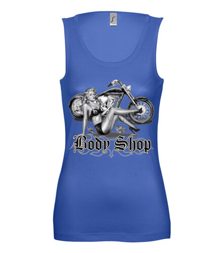 Femmes tank top Biker Body shop moto motorcycle MC pin up usa us Girls 12390