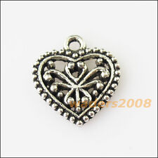 15 New Heart Flower Tibetan Silver Tone Charms Pendants 15x16mm