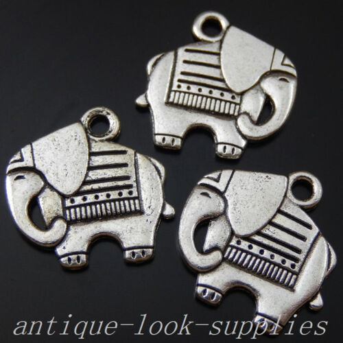 39832 Antique Silver Alloy Elephant Animald Pendats Charms Carfts Making 40PCS