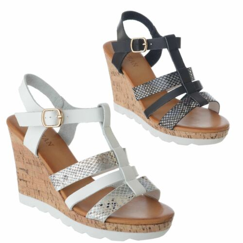 WOMENS LADIES STRAPPY HIGH CORK WEDGE HEEL ANKLE STRAP BUCKLE SANDALS SHOES SIZE