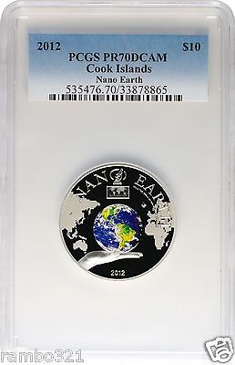 2012 $10 Cook Islands Nano Earth PCGS NGC PR70Silver Coin w/ Nano Chip Bullion