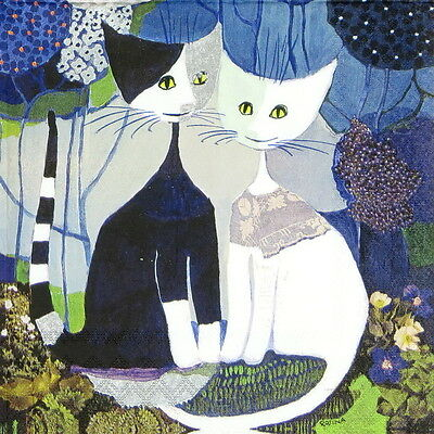 4x Paper Napkins for Decoupage Decopatch Cat Rosina Wachtmeister: Wedding
