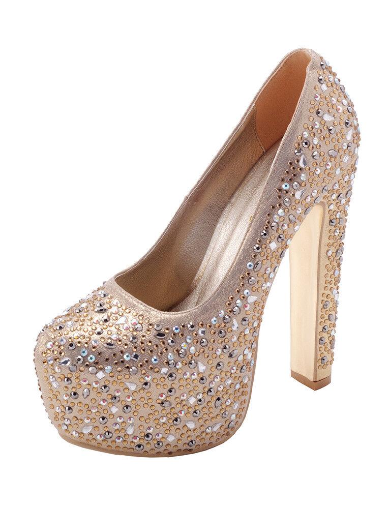 Gold Caroline Platform High Heel, EU size 38, Black Rhinestone Heel, Black Heel