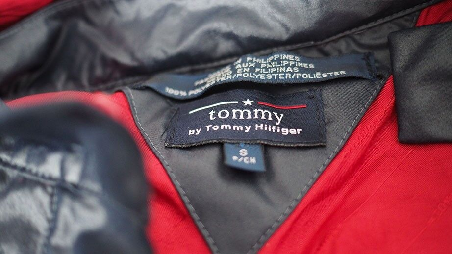 Tommy Hilfiger Pioggia Cappotto Giacca S Navy Rosso & Rosso Navy be754e