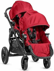 Baby-Jogger-City-Select-Twin-Tandem-Double-Stroller-Red-w-Second-Seat-NEW